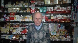 Ricardo Aristides Guerrero in his tobacco store on Ave. de Mayo