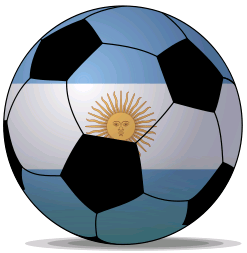 An Argentina football that features the blue and white of the National Football League Team