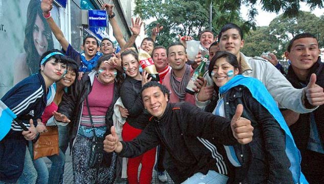A group of young soccer (football) fans on the streets of Buenos Aires