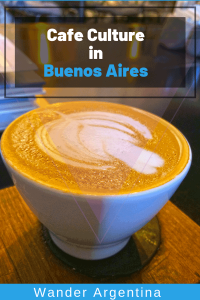 A close up of foam on a cup of coffee with overlay of the words 'Cafe Culture in Buenos Aires' Wander Argentina