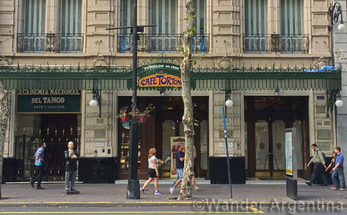 The exterior of Cafe Tortoni on Avenida de Mayo in Buenos Aires