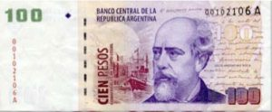 A picture of an Argentine one hundred peso note