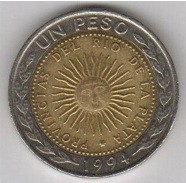 A picture of a one peso Argentine coin