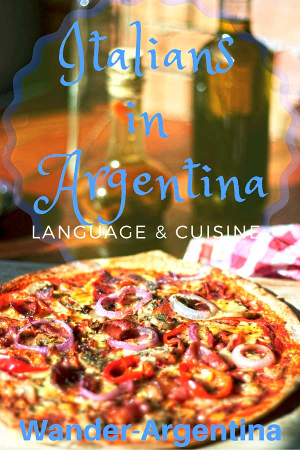 "A picture of a pizza pie with olive oil in the background with an overlay of the words ""Italians in Argentina -- Language and Cuisine'"