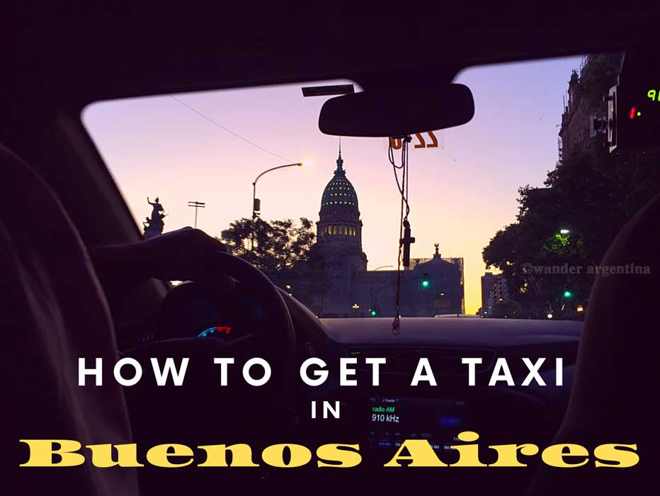 How to get a Taxi in Buenos Aires (interior of taxi at dusk)