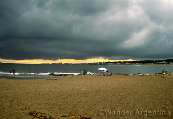 The beach of Punta del Este, Uruguay on an overcast day