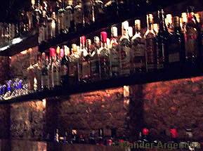 Shelves of liquir at Krakow Pub in San Telmo, Buenos Aires
