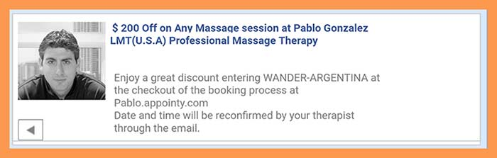 Massage in Buenos Aires, book a massage online with Wander Argentina using coupon code WANDER-ARGENTINA