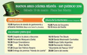 Flyer for Saint Patrick's Day celebrations in Buenos Aires