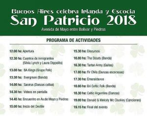 A list of the activities to celebrate Saint Patrick's Day in Buenos AIres 2018