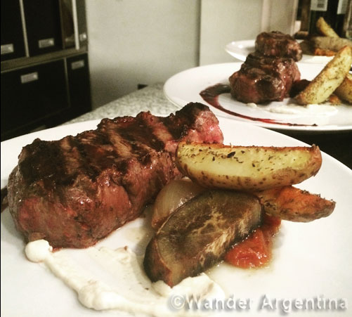 Argentine sirloin steak, called Bife de Chorizo