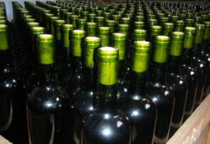 Bottles of wine ready to be corked and enjoyed in Mendoza, Argentina