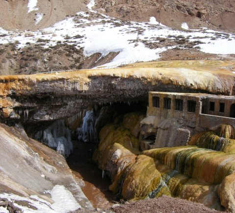 The natural rock formation at 'La Puente de las Incas' outside of Mendoza City, Argentina. Read about this attraction and the nearby healing hot springs on Wander Argnetina