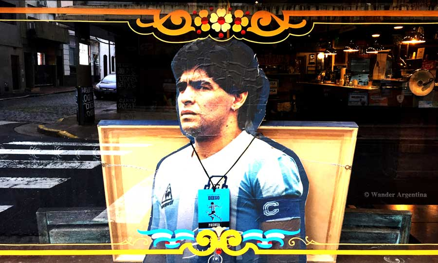 An effigy of Diego Maradona in a Buenos Aires cafe