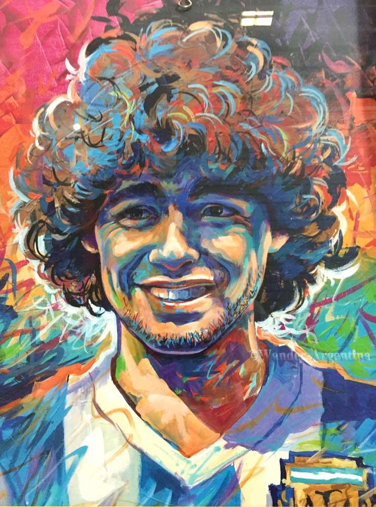 Diego Maradona depicted in colorful grafitti