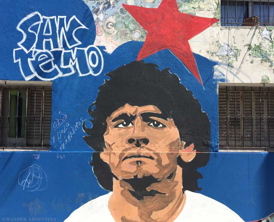 Diego Maradona depicted in street art