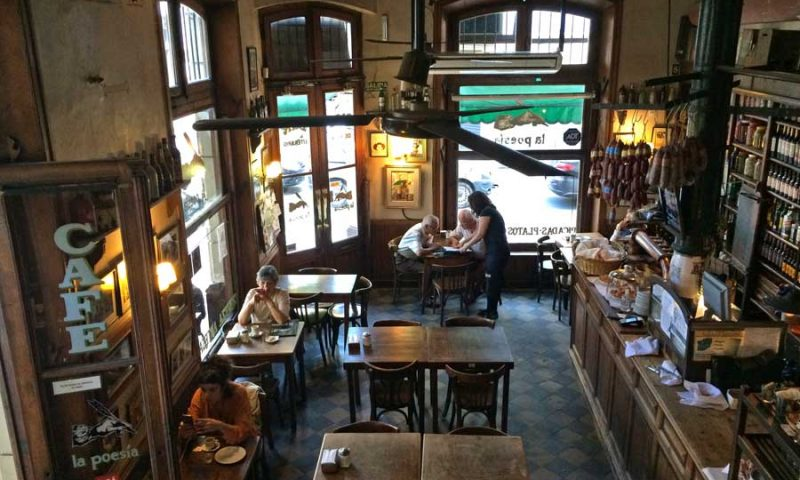 La Poesia cafe's bar is seen from the upstairs eating area