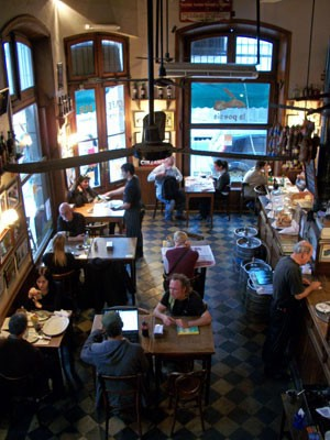 A bird's eye view of the main room at La Poesia Cafe in San Telmo, Buenos Aires