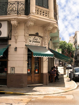 The exterior of La Poesai cafe in San Telmo Buenos Aires