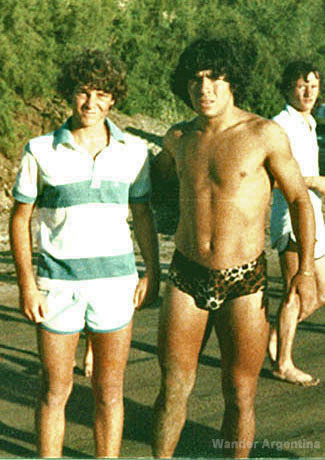 Maradona in 1982 in a leopard print swimsuit on Argentina's Atlantic coast