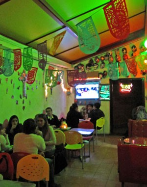 The colorful interior of La Fabrica del Taco in Buenos Aires