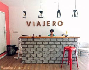 The sunny reception desk at Viajero Hostel, Colonia del Sacramento, Uruguay