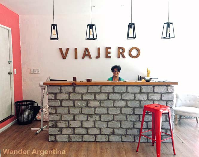 The sunny reception desk at Viajero Hostel, Colonia del Sacramento, Uruguay