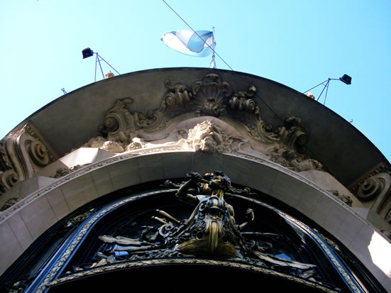 The door of the beaux arts naval center in downtown Buenos Aires