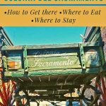 A picture of an old horse-cart that is painted with the words 'Colonia del Sacramento' on the back. With overlay of the words 'Colonia del Sacramento Day Trip: How to Get there, Where to Eat, Where to Stay and the words Wander Argentina on the footer