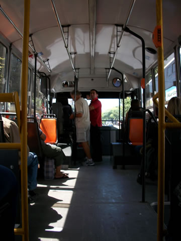 The interior of a buenos aires bus