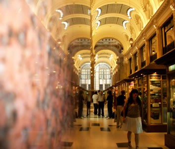 The marbled grand hallway of Gallery Güemes, a historic building inBuenos Aires
