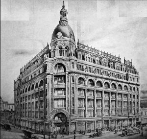 An archival photograph of the exterior of the impressive Gath and Chavezin downtown Buenos Aires