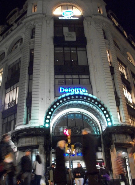 The deco-style exterior of the Gath and Chavez building on Buenos Aires' Florida street retains its original 1908 glass and ironwork around the entrance.. The department store building was once one of Buenos Aires' fanciest palces to shop on Florida Street in Buenos Aires.