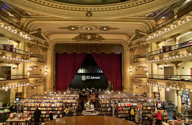 The flagship store of El Ateneo bookstore is a set in an old theater