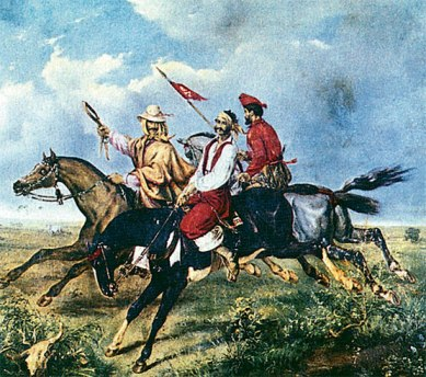 A depiction of Manual Rosas on horseback