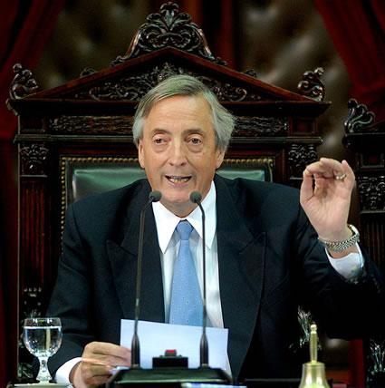 Nestór Kirchner when he held the office of the Argentine Presidency