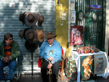 A leather hat and mate vendor at the San Telmo Fair