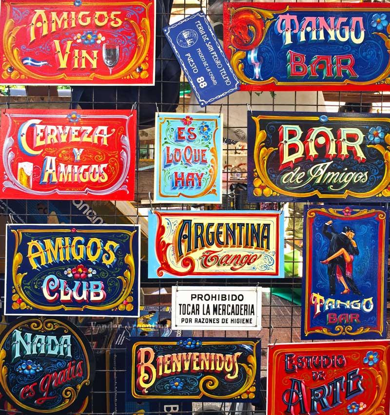 Signs with fileteado, Argentine decorative art