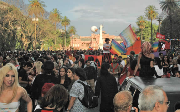 Crowds gather for Buenos Aires Gay Pride Celebrations outside of the Government House downtown