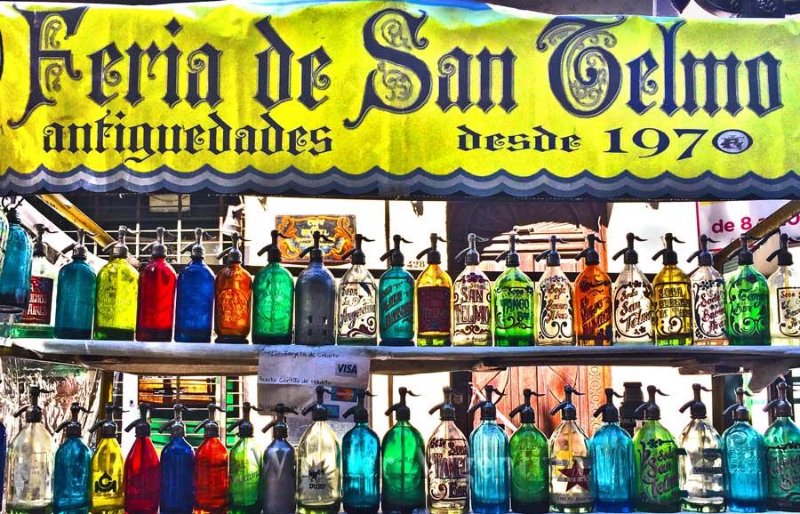 Antique glass bottles at the San Telmo Fair