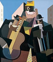A picture of the cubist-style painting 'The Song of the Pueblo' by Argentine artist, Emilio Pettoruti
