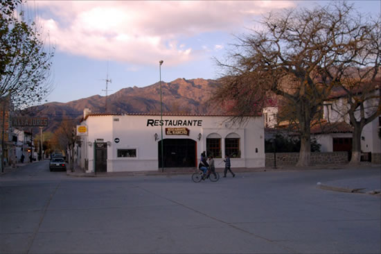 A restaurant in front of the foothills in Cafayate, Salta Argentina