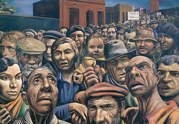 A picture of the 1934 painting 'Manifestation by famous Argentina artist, Antonio Berni