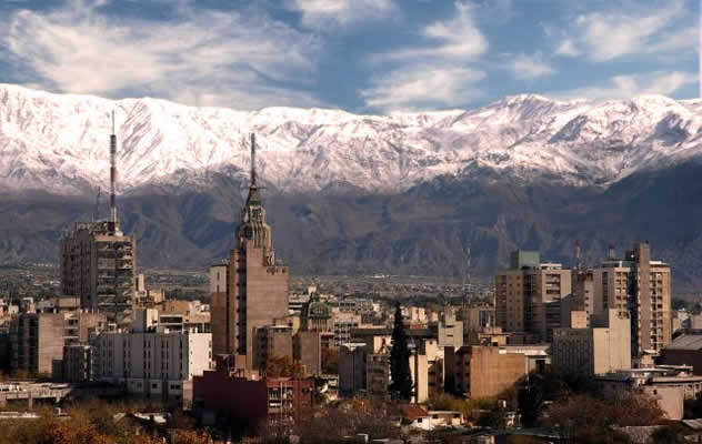 The skyline of Mendoza capital city, Mendoza Argentina.