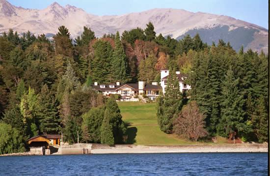 Barilcoeh's La Cascada hotel from Lake Nahuel Huapi