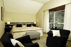 A typical room at La Cascada Hotel outside of Bariloche