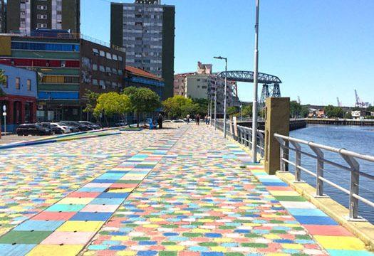 The colorful cobblestone waterfront in La Boca Buenos Aires