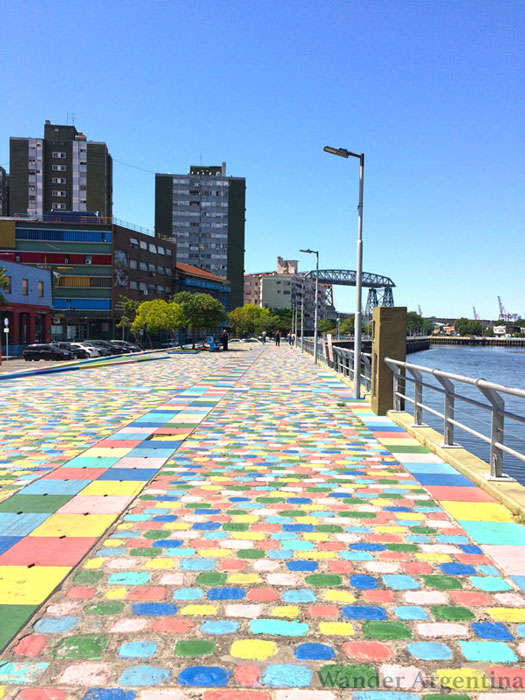 The colorful cobblestone waterfront in La Boca Buenos Aires