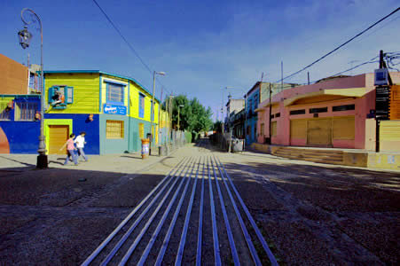 The old railroad tracks going through the La Boca neighborhood of Buenos Aires