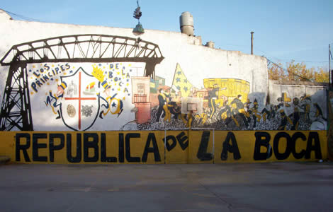 The neighborhood 'cancha,' or soccer grounds painted with the words 'Republica de la Boca' or 'The Republic of La Boca' in the La Boca neighborhood of Buenos Aires
